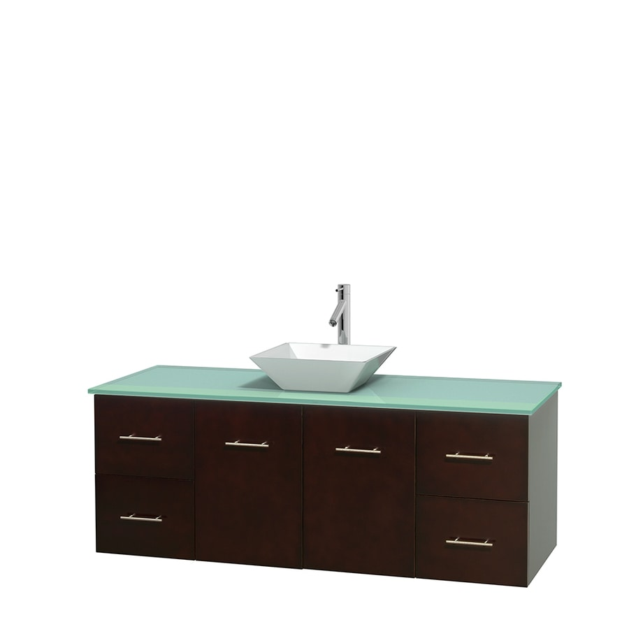 Wyndham Collection Centra Espresso 60-in Vessel Single Sink Oak Bathroom Vanity with Tempered Glass and Glass Top