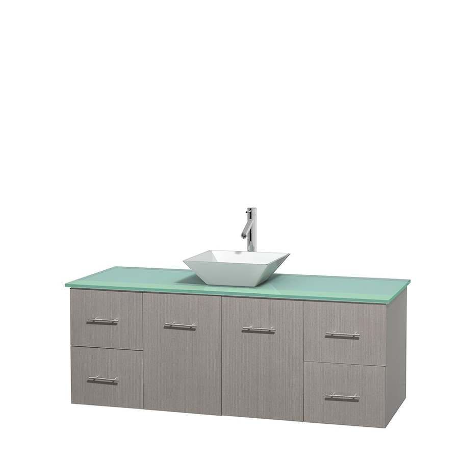 Wyndham Collection Centra Gray Oak Single Vessel Sink Bathroom Vanity with Tempered Glass and Glass Top (Common: 60-in x 22.5-in; Actual: 60-in x 22.25-in)