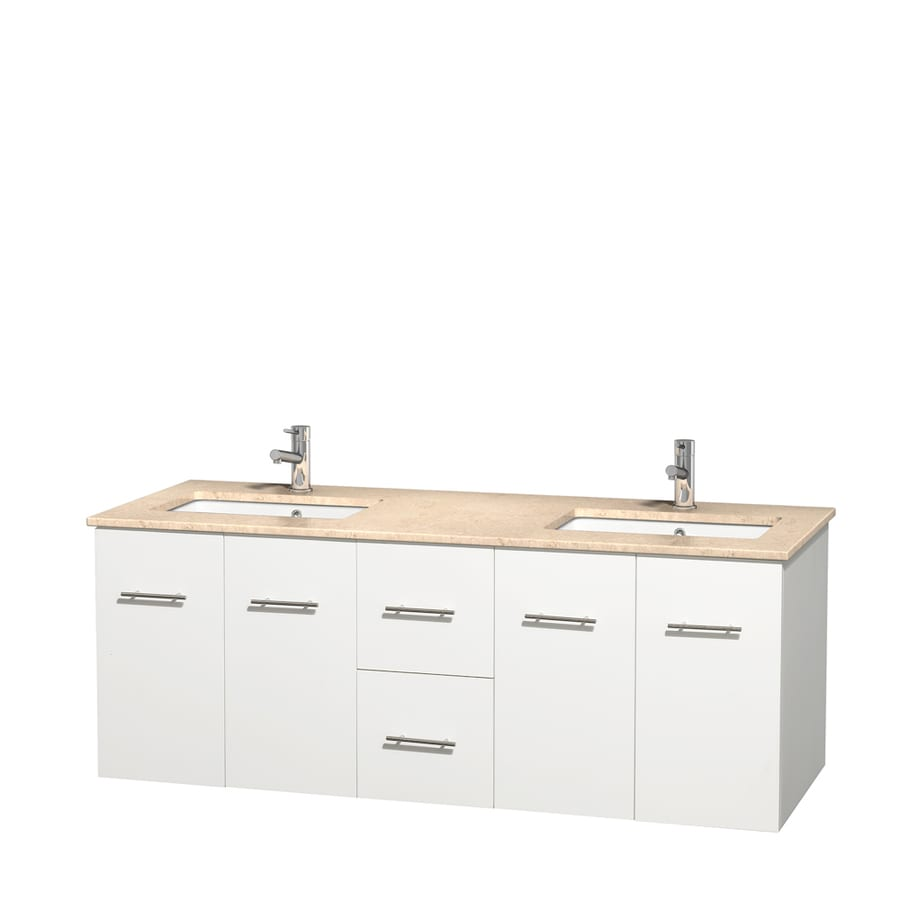 Wyndham Collection Centra White Undermount Double Sink Bathroom Vanity with Natural Marble Top (Common: 60-in x 22.5-in; Actual: 60-in x 22.25-in)
