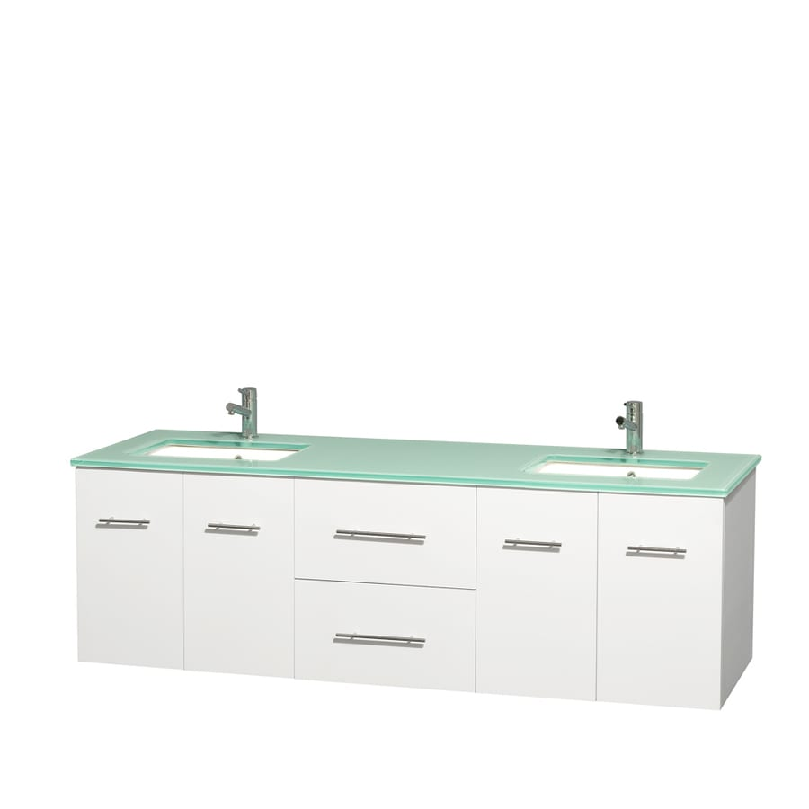 Wyndham Collection Centra White Undermount Double Sink Bathroom Vanity with Tempered Glass and Glass Top (Common: 72-in x 22.5-in; Actual: 72-in x 22.25-in)