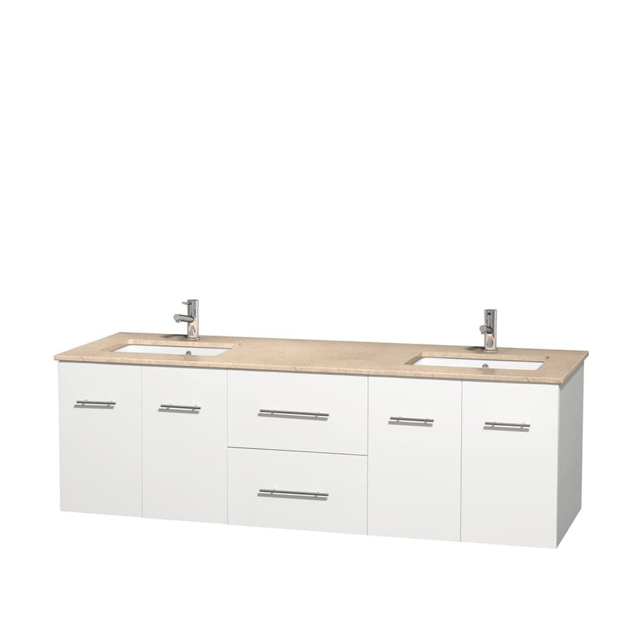 Wyndham Collection Centra White Undermount Double Sink Bathroom Vanity with Natural Marble Top (Common: 72-in x 22.5-in; Actual: 72-in x 22.25-in)