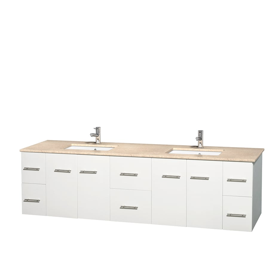 Wyndham Collection Centra White Undermount Double Sink Bathroom Vanity with Natural Marble Top (Common: 80-in x 22.5-in; Actual: 80-in x 22.25-in)