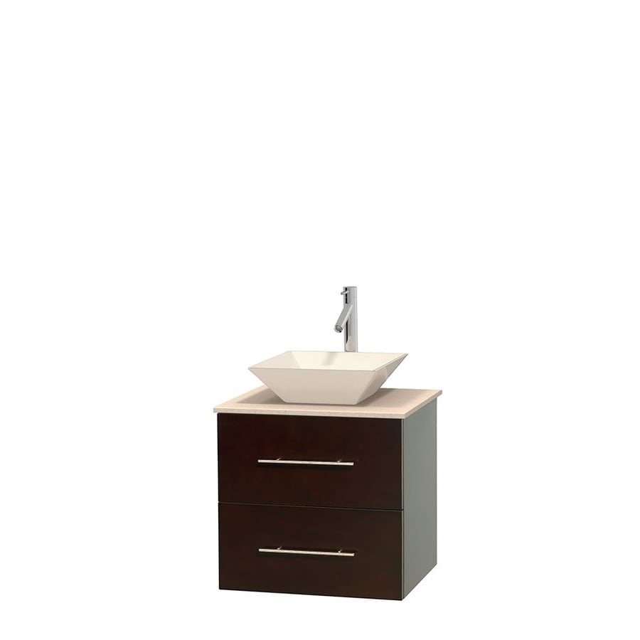 Wyndham Collection Centra Espresso 24-in Vessel Single Sink Oak Bathroom Vanity with Natural Marble Top
