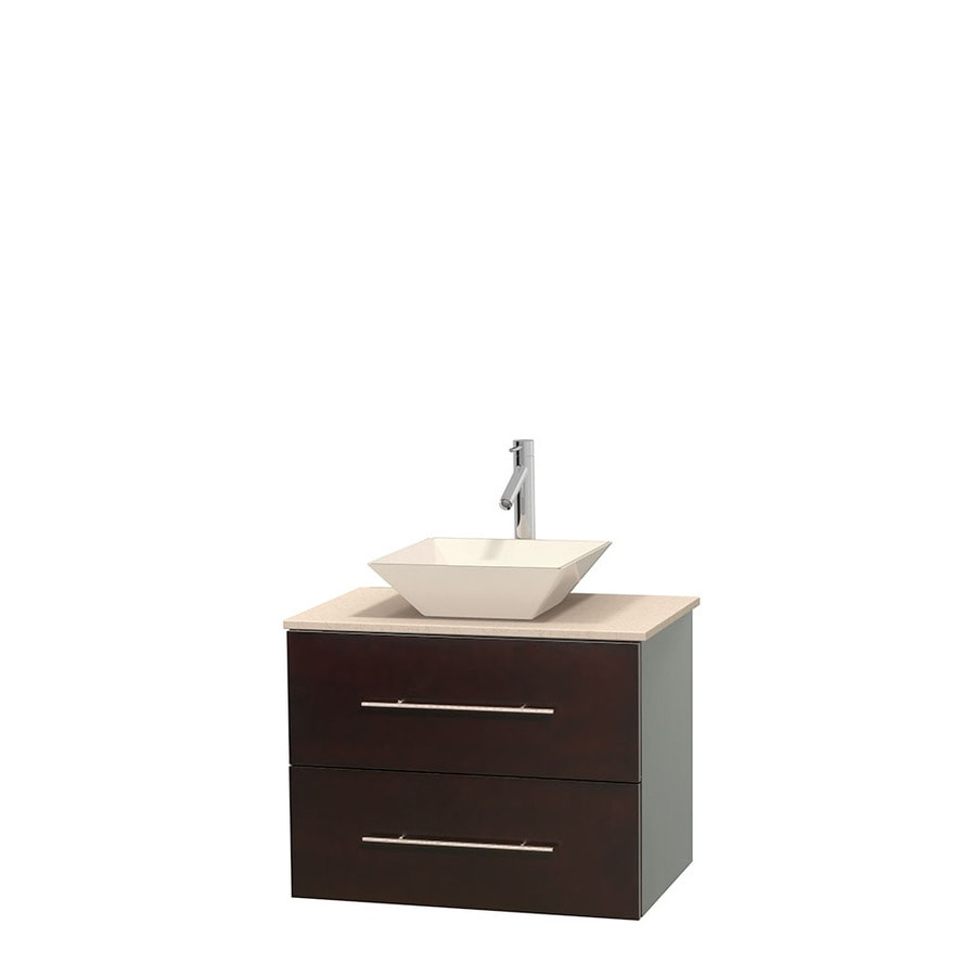 Wyndham Collection Centra Espresso 30-in Vessel Single Sink Oak Bathroom Vanity with Natural Marble Top