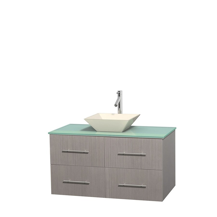 Wyndham Collection Centra Gray Oak Single Vessel Sink Bathroom Vanity with Tempered Glass and Glass Top (Common: 42-in x 21.5-in; Actual: 42-in x 21.5-in)