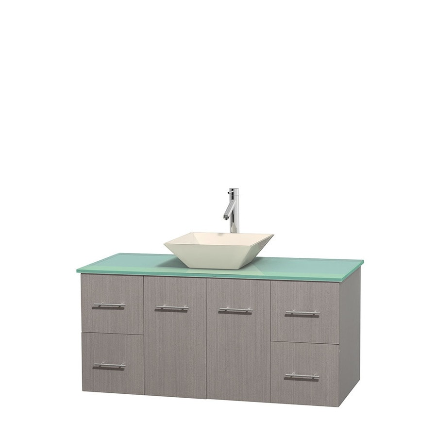 Wyndham Collection Centra Gray Oak Single Vessel Sink Bathroom Vanity with Tempered Glass and Glass Top (Common: 48-in x 21.5-in; Actual: 48-in x 21.5-in)