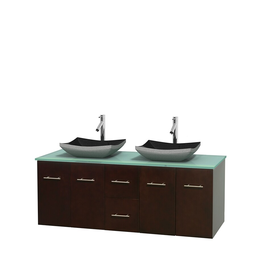 Wyndham Collection Centra Espresso Double Vessel Sink Bathroom Vanity with Tempered Glass and Glass Top (Common: 60-in x 22.5-in; Actual: 60-in x 22.25-in)