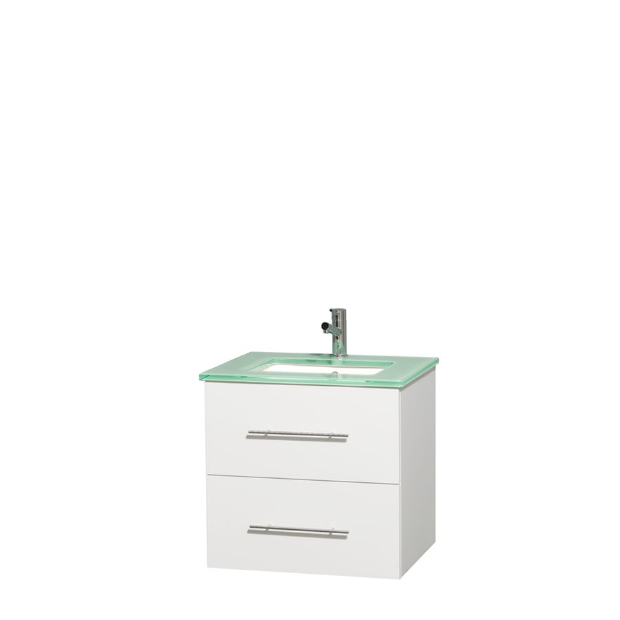 Wyndham Collection Centra White Undermount Single Sink Bathroom Vanity with Tempered Glass and Glass Top (Common: 24-in x 19-in; Actual: 24-in x 19-in)