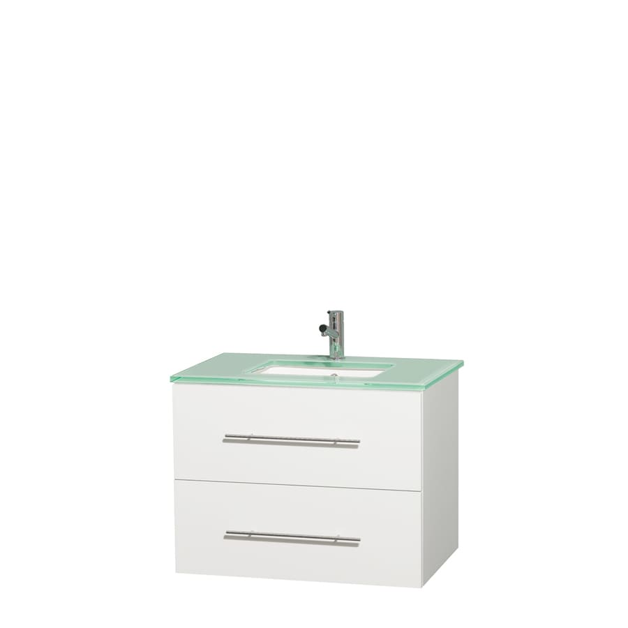 Wyndham Collection Centra White Undermount Single Sink Bathroom Vanity with Tempered Glass and Glass Top (Common: 30-in x 20.5-in; Actual: 30-in x 20.5-in)