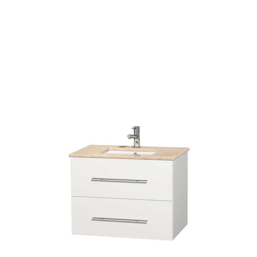 Wyndham Collection Centra White 30-in Undermount Single Sink Oak Bathroom Vanity with Natural Marble Top