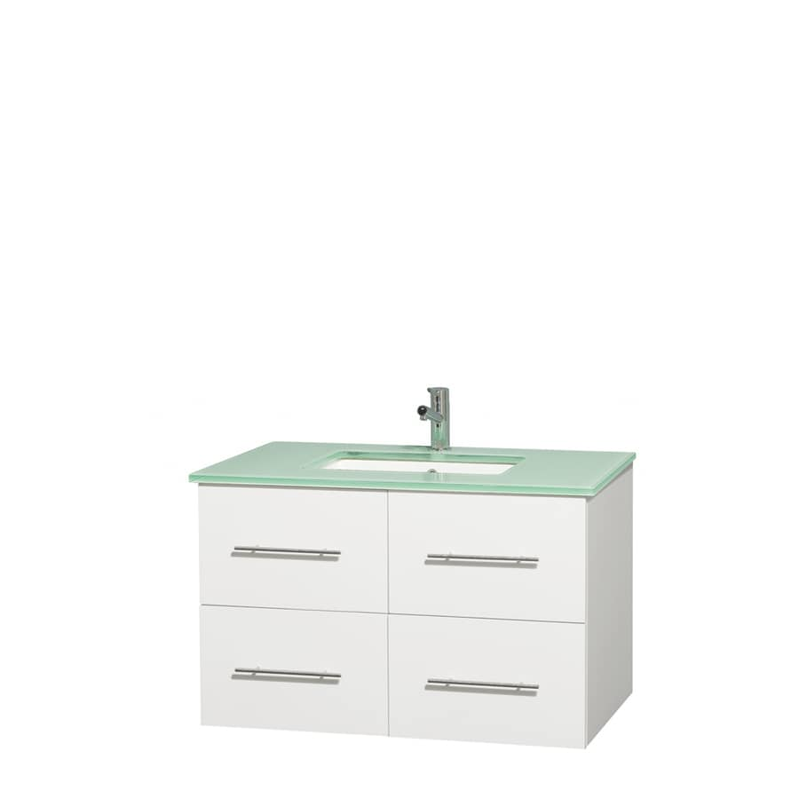 Wyndham Collection Centra White Undermount Single Sink Bathroom Vanity with Tempered Glass and Glass Top (Common: 36-in x 21.5-in; Actual: 36-in x 21.5-in)