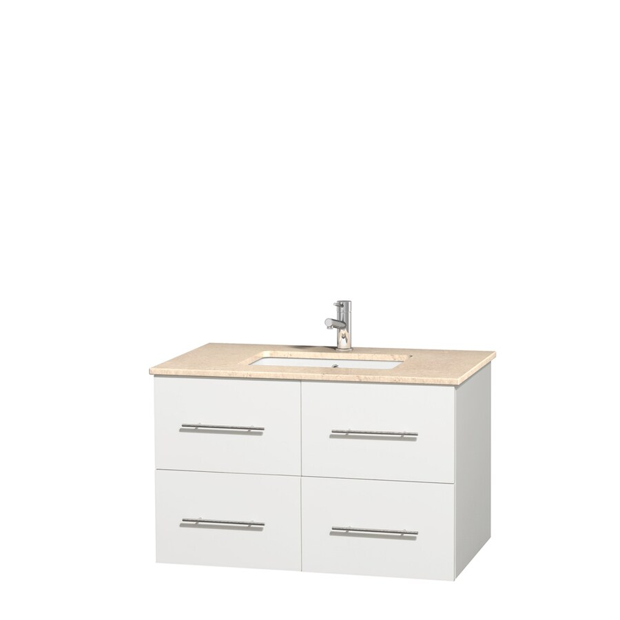Wyndham Collection Centra White Undermount Single Sink Bathroom Vanity with Natural Marble Top (Common: 36-in x 21.5-in; Actual: 36-in x 21.5-in)