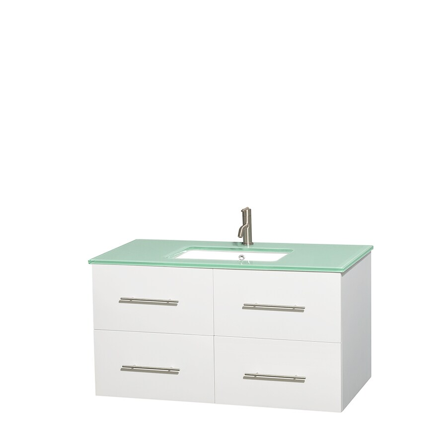 Wyndham Collection Centra White Undermount Single Sink Bathroom Vanity with Tempered Glass and Glass Top (Common: 42-in x 21.5-in; Actual: 42-in x 21.5-in)