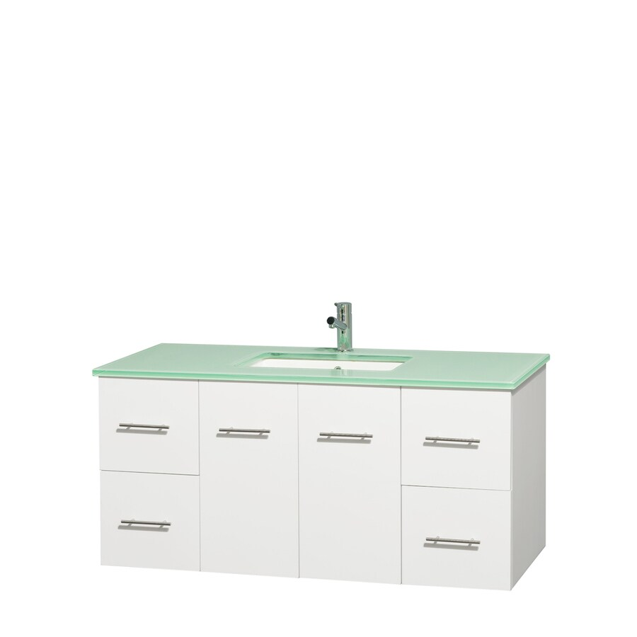 Wyndham Collection Centra White Undermount Single Sink Bathroom Vanity with Tempered Glass and Glass Top (Common: 48-in x 21.5-in; Actual: 48-in x 21.5-in)