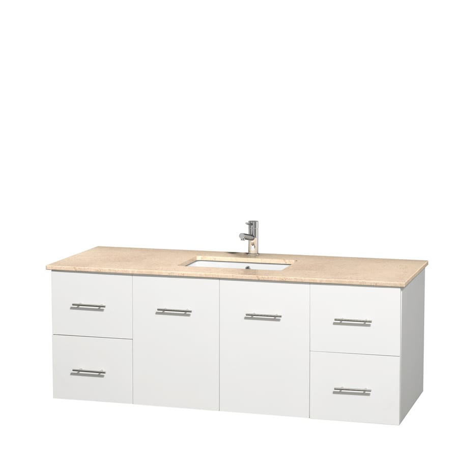 Wyndham Collection Centra White Undermount Single Sink Bathroom Vanity with Natural Marble Top (Common: 60-in x 22.5-in; Actual: 60-in x 22.25-in)