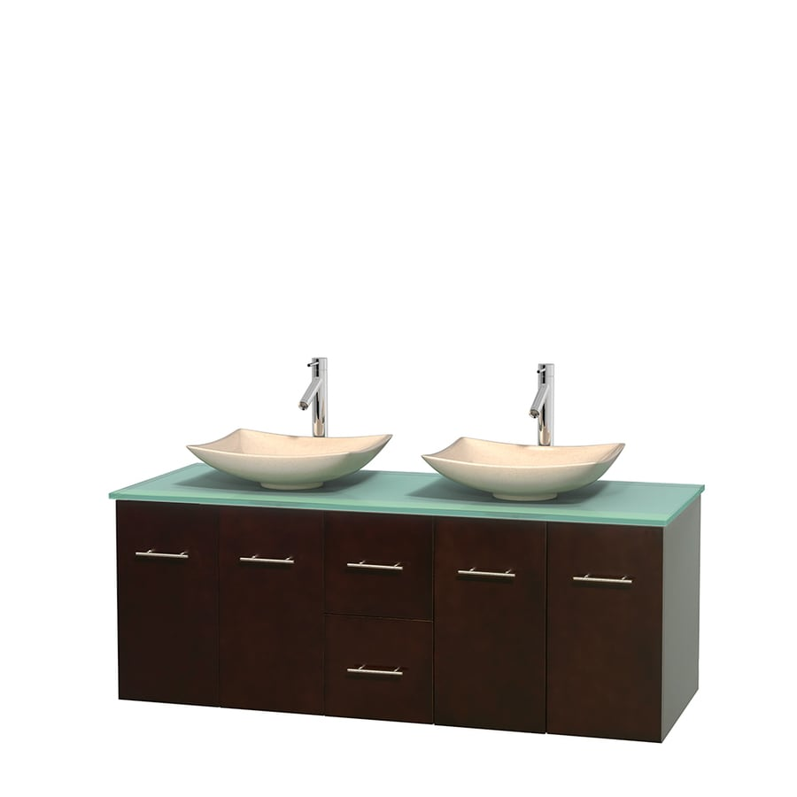 Wyndham Collection Centra Espresso 60-in Vessel Double Sink Oak Bathroom Vanity with Tempered Glass and Glass Top