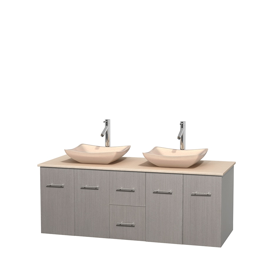 Wyndham Collection Centra Gray Oak Double Vessel Sink Bathroom