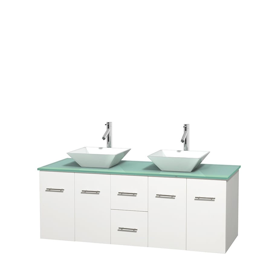 Wyndham Collection Centra White 60-in Vessel Double Sink Oak Bathroom Vanity with Tempered Glass and Glass Top