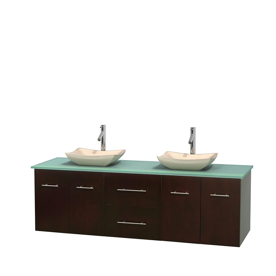 Wyndham Collection Centra Espresso Double Vessel Sink Bathroom Vanity with Tempered Glass and Glass Top (Common: 72-in x 22.5-in; Actual: 72-in x 22.25-in)