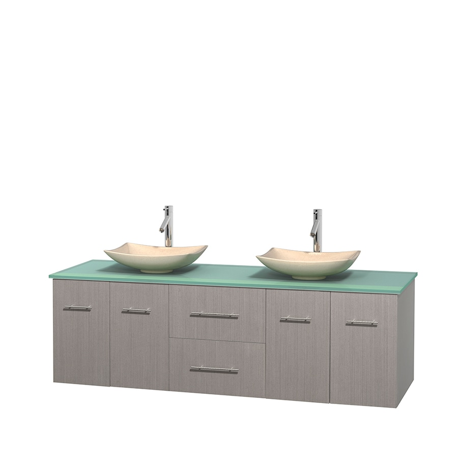 Wyndham Collection Centra Gray Oak 72-in Vessel Double Sink Oak Bathroom Vanity with Tempered Glass and Glass Top