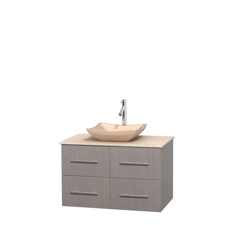 Wyndham Collection Centra Gray Oak Single Vessel Sink Bathroom Vanity with Natural Marble Top (Common: 36-in x 21.5-in; Actual: 36-in x 21.5-in)