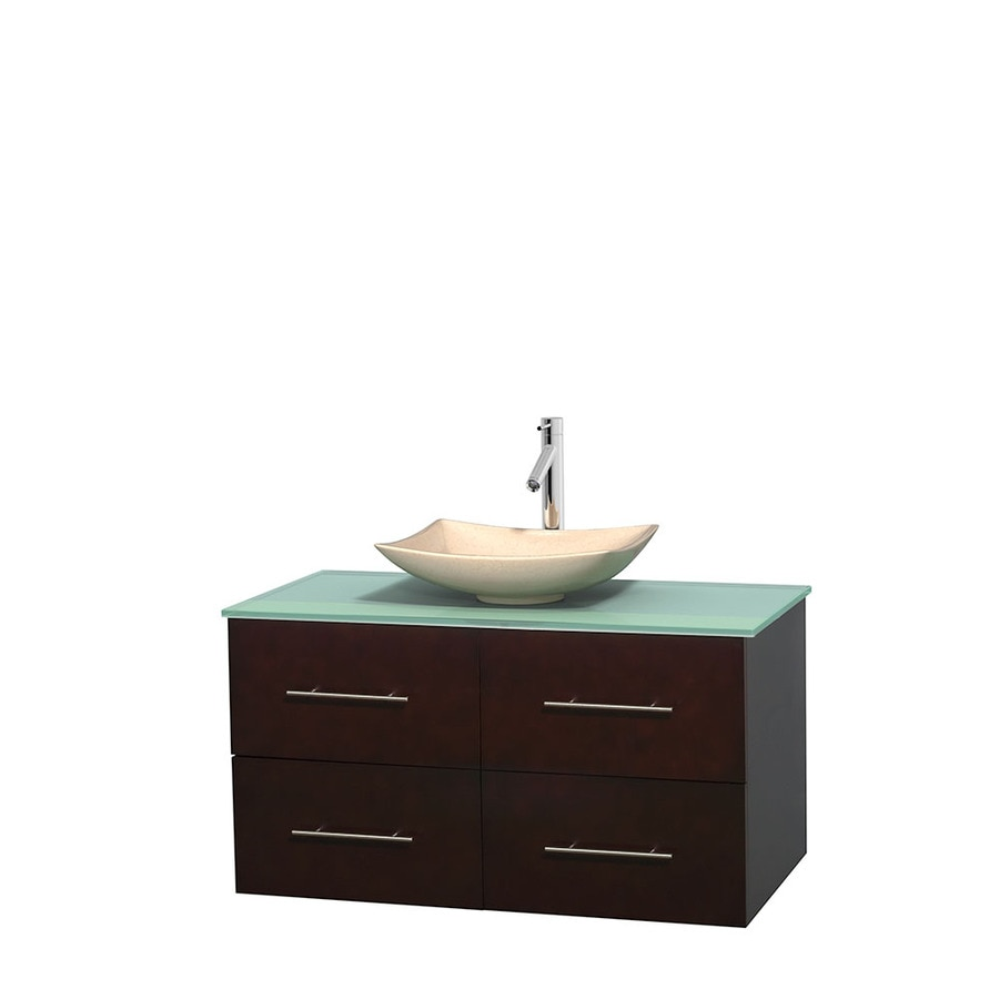 Wyndham Collection Centra Espresso 42-in Vessel Single Sink Oak Bathroom Vanity with Tempered Glass and Glass Top