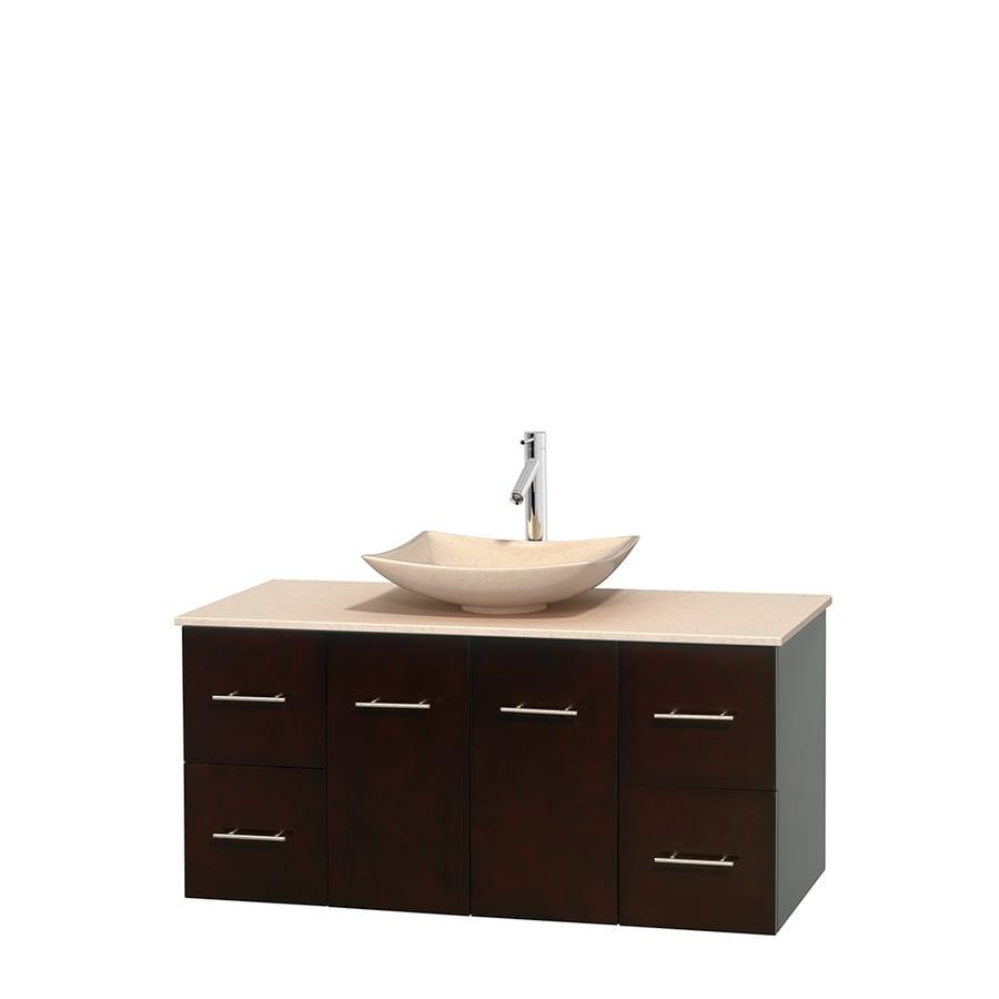 Wyndham Collection Centra Espresso 48-in Vessel Single Sink Oak Bathroom Vanity with Natural Marble Top