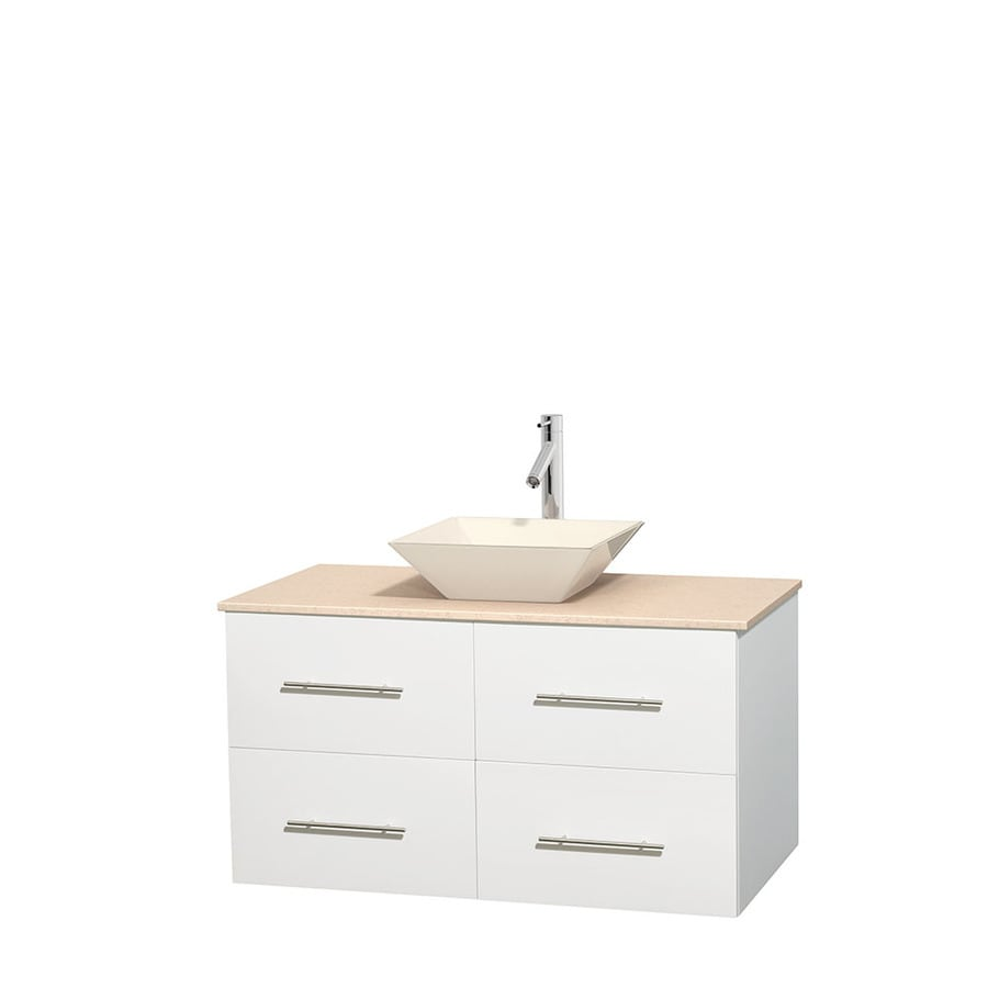 Wyndham Collection Centra White Single Vessel Sink Bathroom Vanity with Natural Marble Top (Common: 42-in x 21.5-in; Actual: 42-in x 21.5-in)