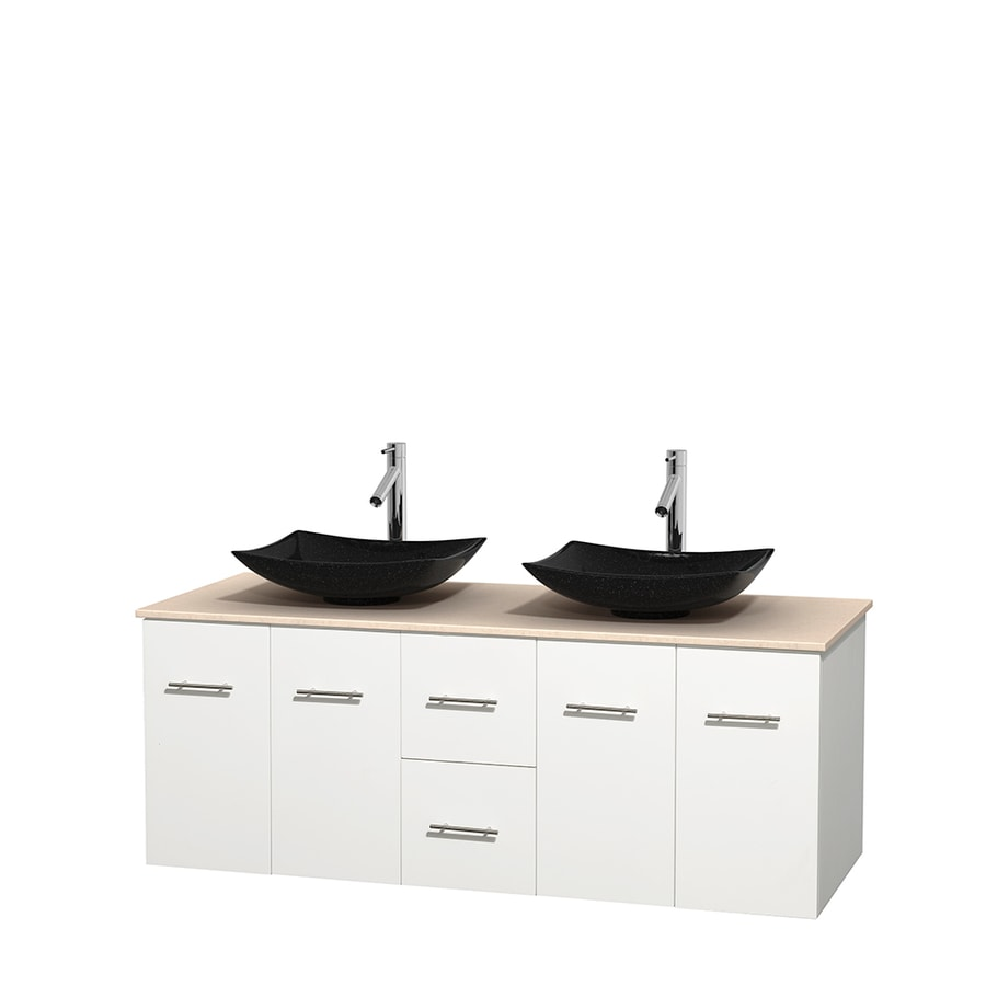 Wyndham Collection Centra White Double Vessel Sink Bathroom Vanity with Natural Marble Top (Common: 60-in x 22.5-in; Actual: 60-in x 22.25-in)
