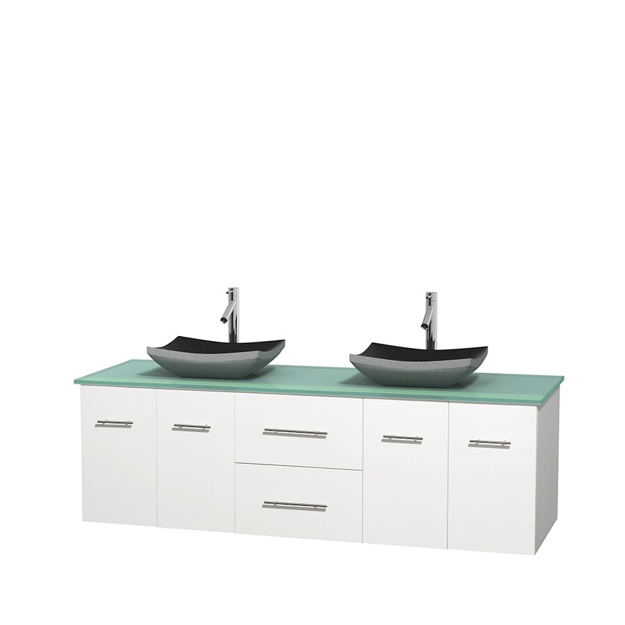 Wyndham Collection Centra White Double Vessel Sink Bathroom Vanity with Tempered Glass and Glass Top (Common: 72-in x 22.5-in; Actual: 72-in x 22.25-in)