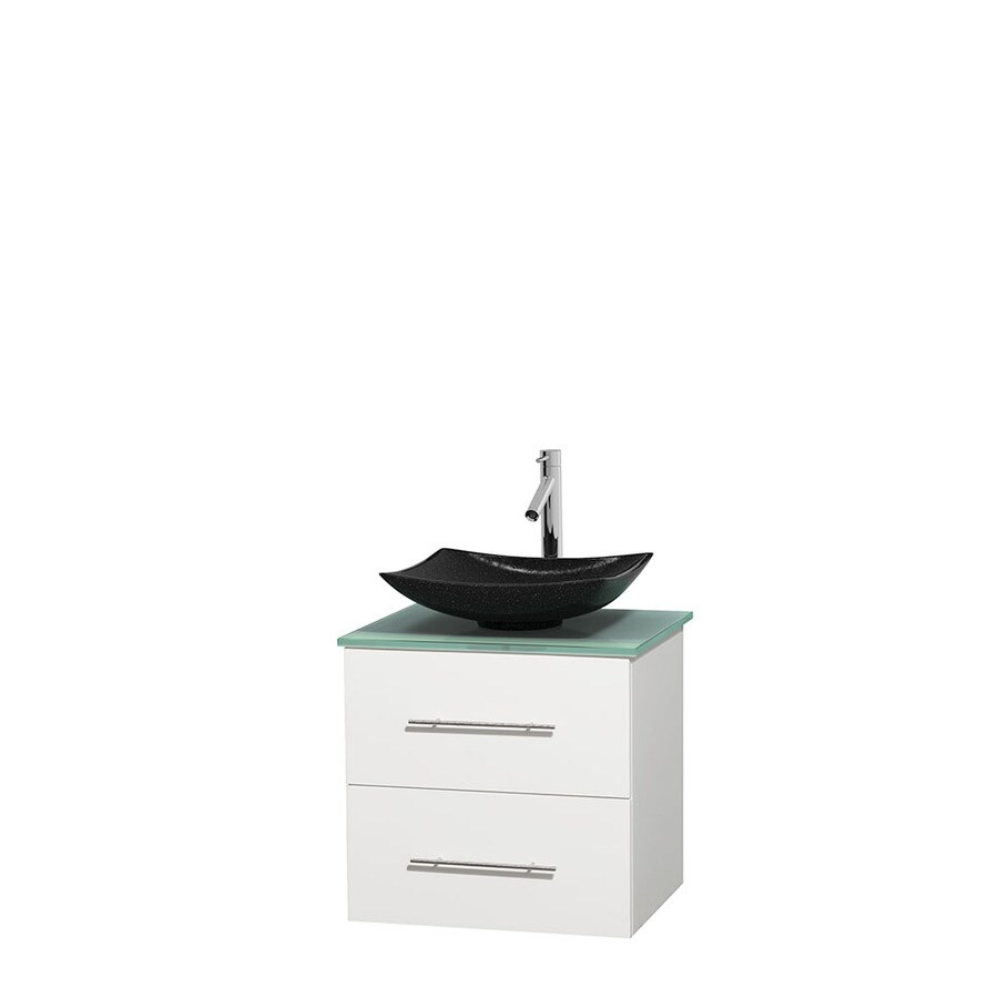 Wyndham Collection Centra White Single Vessel Sink Bathroom Vanity with Tempered Glass and Glass Top (Common: 24-in x 19-in; Actual: 24-in x 19-in)