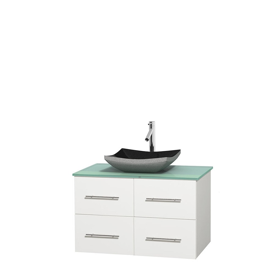 Wyndham Collection Centra White Single Vessel Sink Bathroom Vanity with Tempered Glass and Glass Top (Common: 36-in x 21.5-in; Actual: 36-in x 21.5-in)