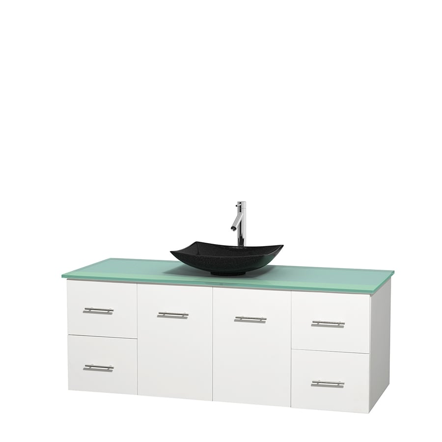 Wyndham Collection Centra White Single Vessel Sink Bathroom Vanity with Tempered Glass and Glass Top (Common: 60-in x 22.5-in; Actual: 60-in x 22.25-in)