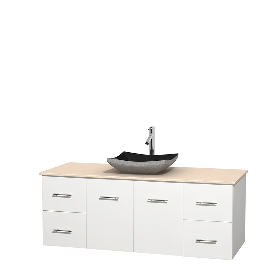 Wyndham Collection Centra White Single Vessel Sink Bathroom Vanity with Natural Marble Top (Common: 60-in x 22.5-in; Actual: 60-in x 22.25-in)