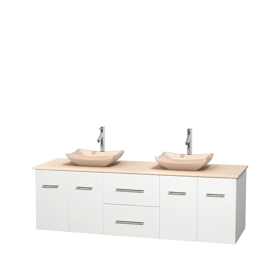 Wyndham Collection Centra White 72-in Vessel Double Sink Oak Bathroom Vanity with Natural Marble Top