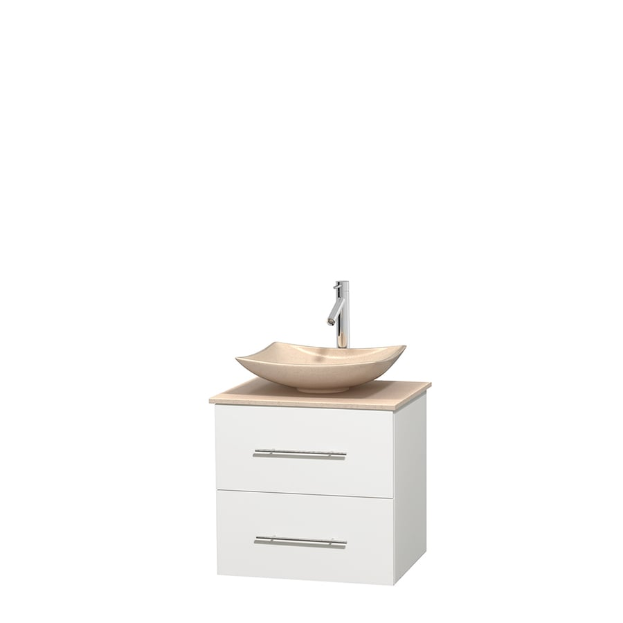 Wyndham Collection Centra White 24-in Vessel Single Sink Oak Bathroom Vanity with Natural Marble Top