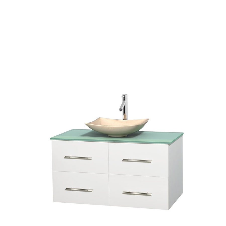 Wyndham Collection Centra White Single Vessel Sink Bathroom Vanity with Tempered Glass and Glass Top (Common: 42-in x 21.5-in; Actual: 42-in x 21.5-in)