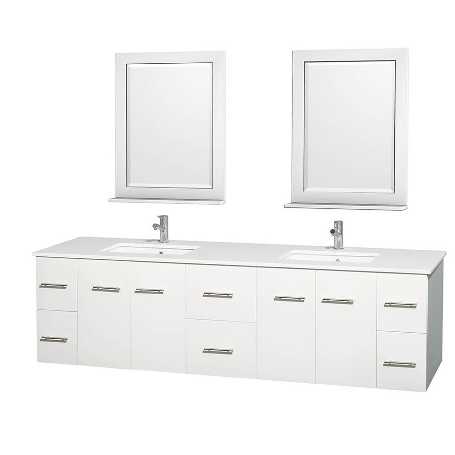 Wyndham Collection Centra White 80-in Undermount Double Sink Oak Bathroom Vanity with Engineered Stone Top (Mirror Included)