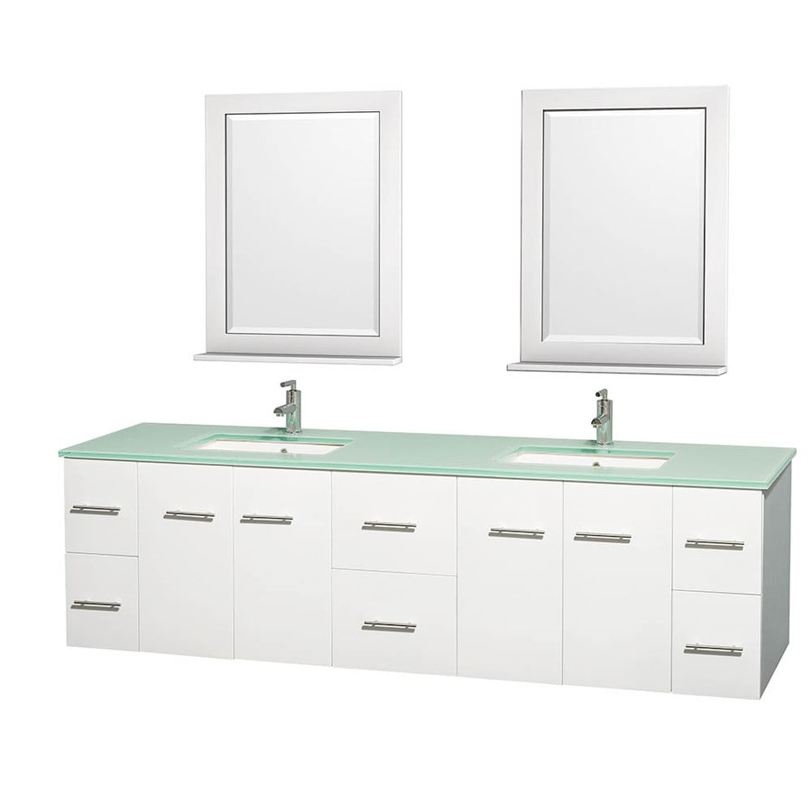 Wyndham Collection Centra White Undermount Double Sink Bathroom Vanity with Tempered Glass and Glass Top (Common: 80-in x 22.5-in; Actual: 80-in x 22.25-in)