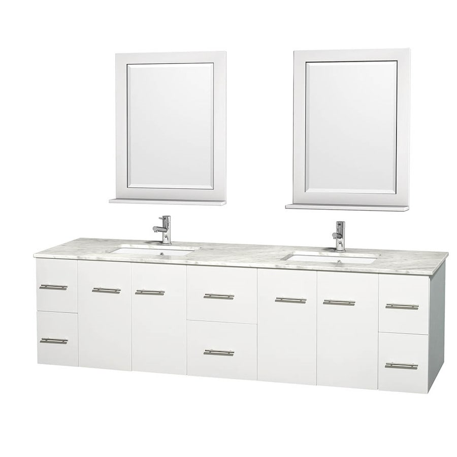 Wyndham Collection Centra White 80-in Undermount Double Sink Oak Bathroom Vanity with Natural Marble Top (Mirror Included)