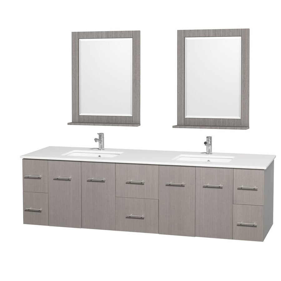 Wyndham Collection Centra Gray Oak Undermount Double Sink Bathroom Vanity with Engineered Stone Top (Common: 80-in x 22.5-in; Actual: 80-in x 22.25-in)