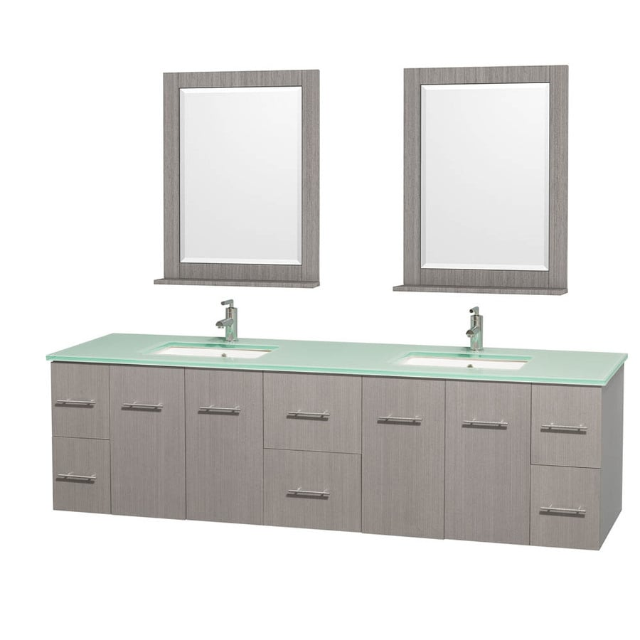 Wyndham Collection Centra Gray Oak 80-in Undermount Double Sink Oak Bathroom Vanity with Tempered Glass and Glass Top (Mirror Included)