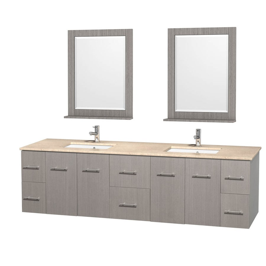 Wyndham Collection Centra Gray Oak 80-in Undermount Double Sink Oak Bathroom Vanity with Natural Marble Top (Mirror Included)