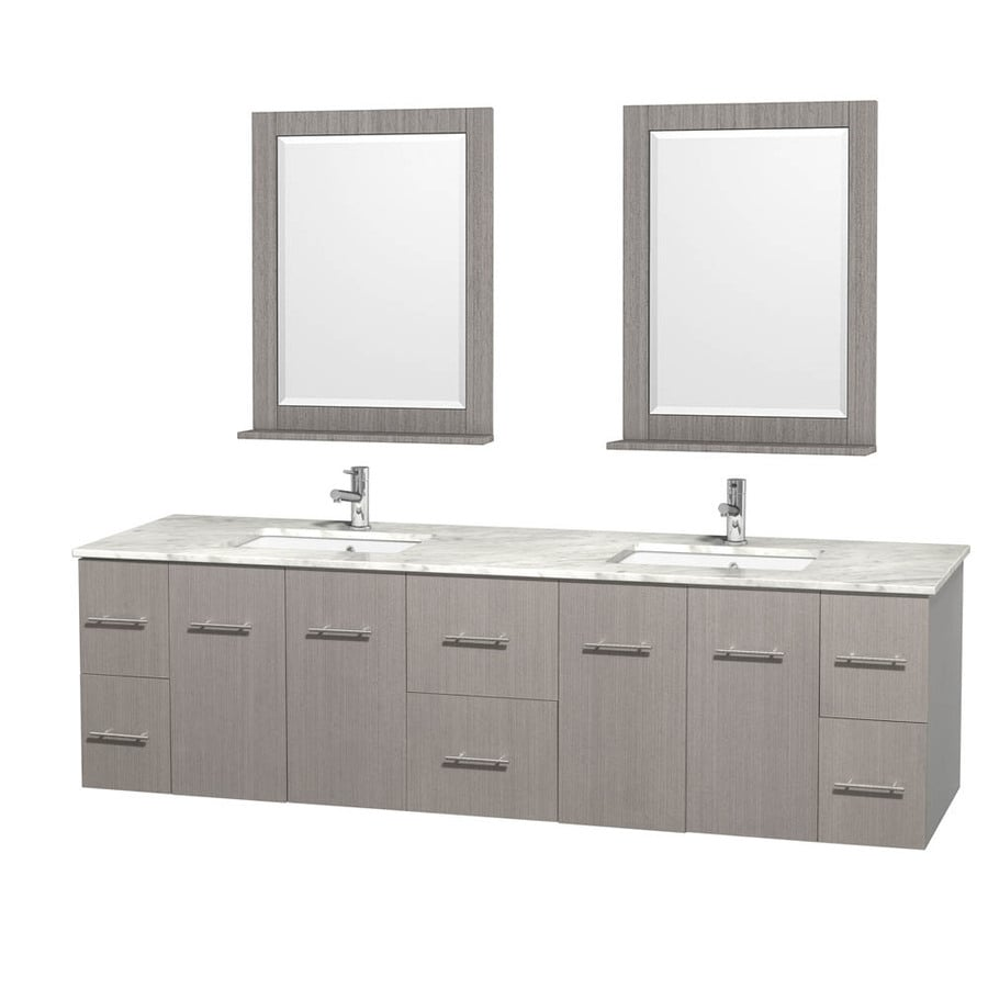 Wyndham Collection Centra Gray Oak (Common: 80-in x 22.5-in) Undermount Double Sink Oak Bathroom Vanity with Natural Marble Top (Mirror Included) (Actual: 80-in x 22.25-in)