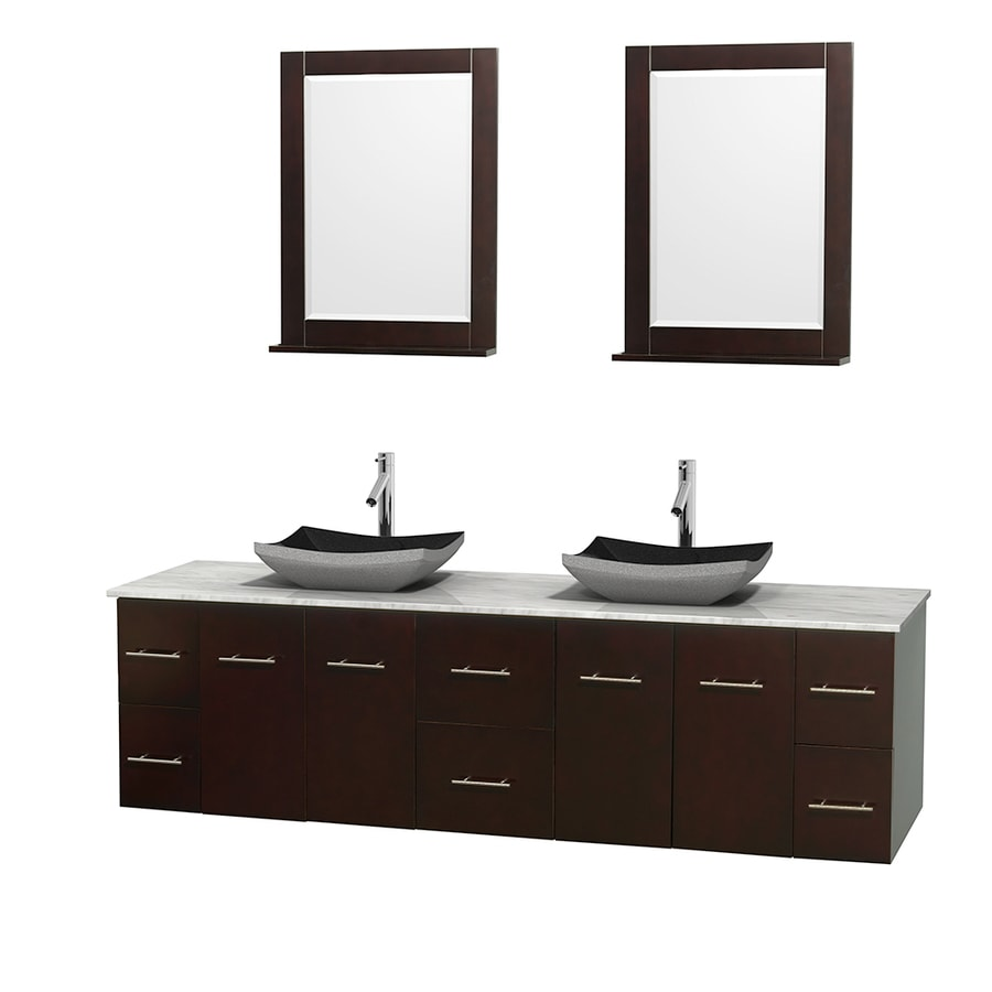 Wyndham Collection Centra Espresso (Common: 80-in x 22.5-in) Vessel Double Sink Oak Bathroom Vanity with Natural Marble Top (Mirror Included) (Actual: 80-in x 22.25-in)