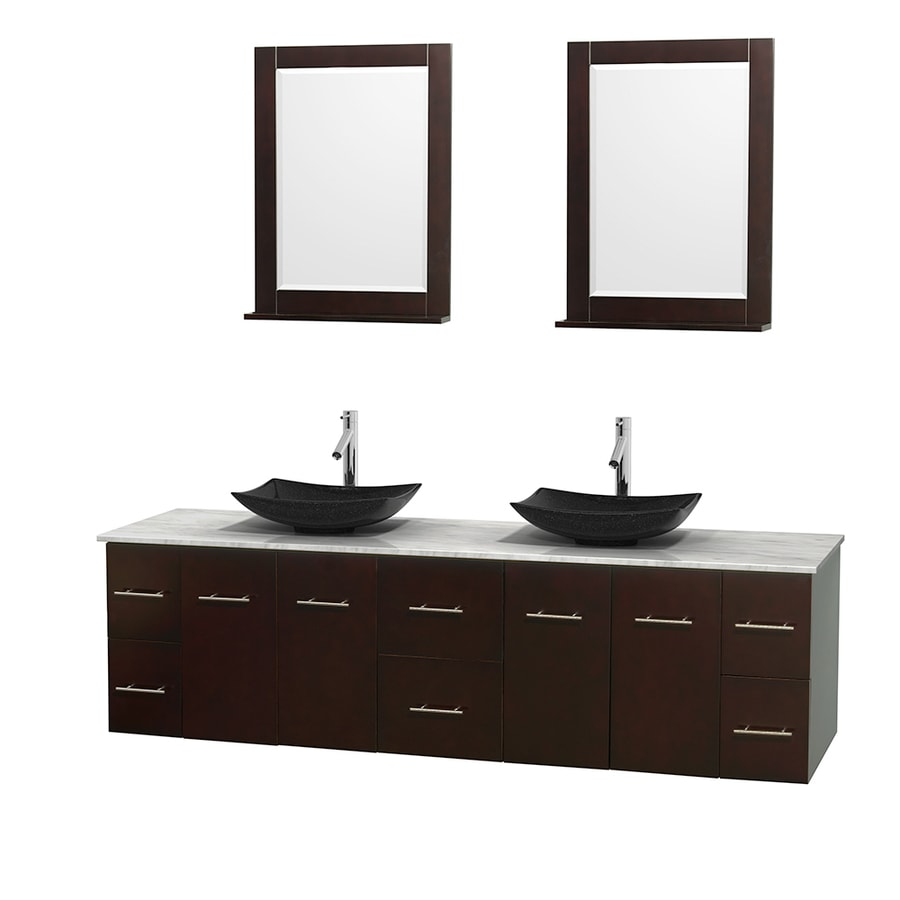 Wyndham Collection Centra Espresso 80-in Vessel Double Sink Oak Bathroom Vanity with Natural Marble Top (Mirror Included)