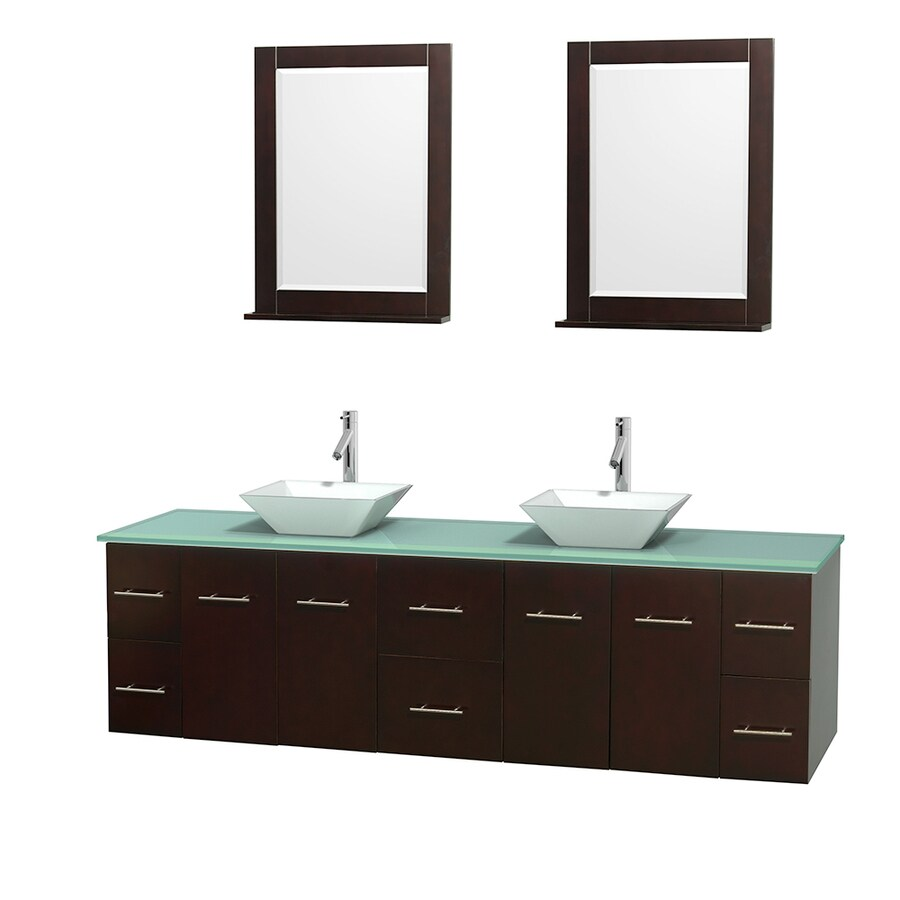 Wyndham Collection Centra Espresso Double Vessel Sink Bathroom Vanity with Tempered Glass and Glass Top (Common: 80-in x 22.5-in; Actual: 80-in x 22.25-in)