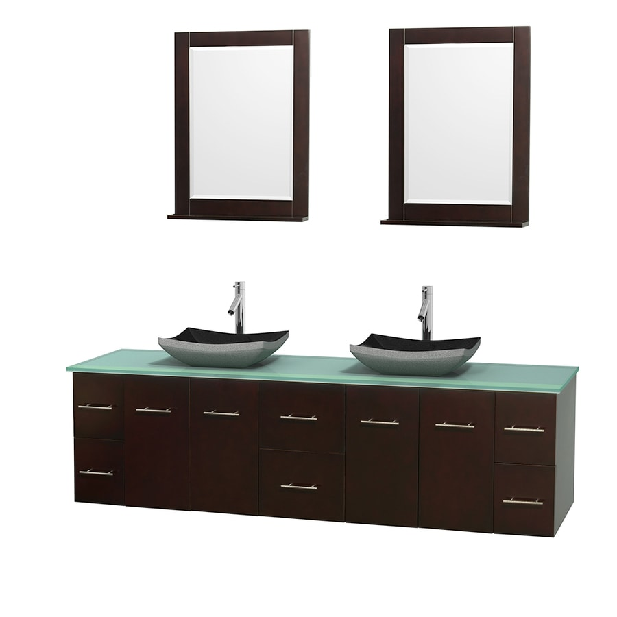Wyndham Collection Centra Espresso 80-in Vessel Double Sink Oak Bathroom Vanity with Tempered Glass and Glass Top (Mirror Included)