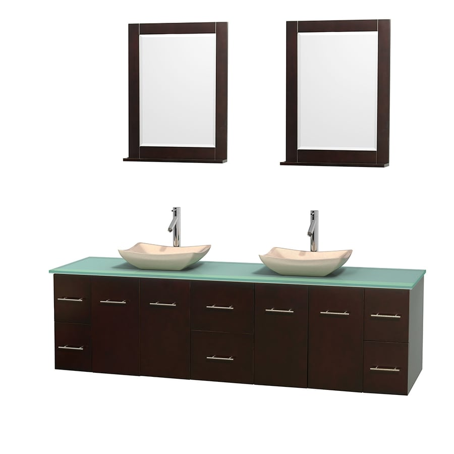 Wyndham Collection Centra Espresso (Common: 80-in x 22.5-in) Vessel Double Sink Oak Bathroom Vanity with Tempered Glass and Glass Top (Mirror Included) (Actual: 80-in x 22.25-in)