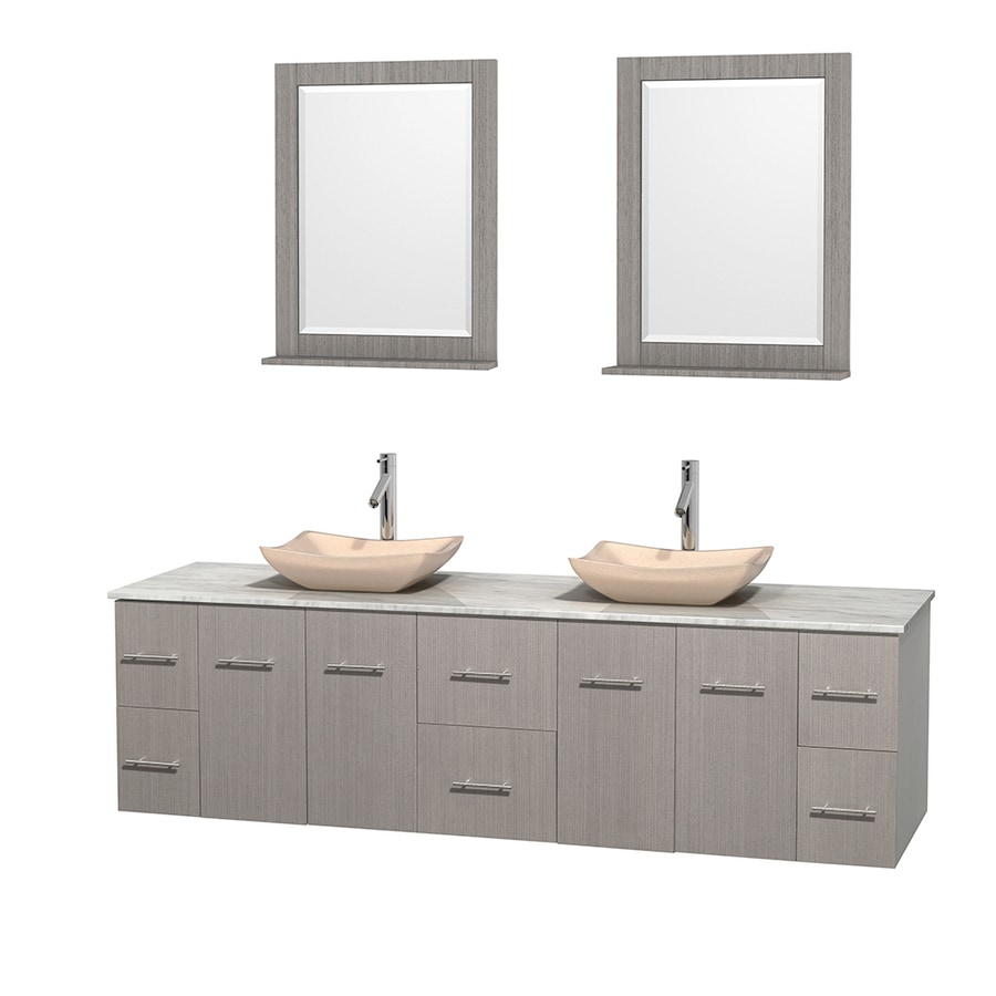 Wyndham Collection Centra Gray Oak 80-in Vessel Double Sink Oak Bathroom Vanity with Natural Marble Top (Mirror Included)